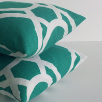 16 x 16 Lattice Bamboo Throw Pillows in Turquoise by skoopehome
