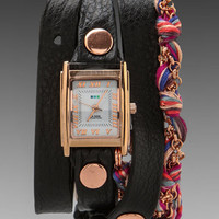 La Mer EXCLUSIVE Fuchsia Friendship Bracelet Watch in Black/Rosegold from REVOLVEclothing.com