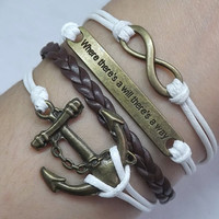 "Leather Bracelet,Infinity Bracelet,Anchor Bracelet,""Where There's a Will There's a Way""Bracelet-white wax rope,Brown leather bracelet"