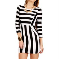 BlackWhite 34 Stripe Scuba Dress