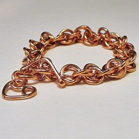 Double Chain Link Bracelet Copper | LaraJordanJewelry - Jewelry on ArtFire