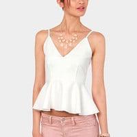 Pep'd Woman Ivory Peplum Top