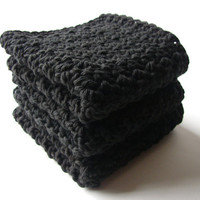 Crochet Washcloths Black Eco Friendly Cotton Face by MyHobbyShop