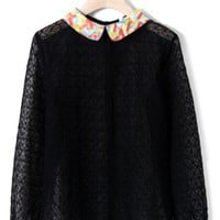 Peter Pan Collar Mesh Blouse in Black