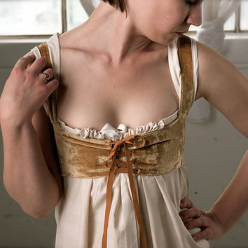 Regency Wedding GownMustard velvet bodice by RanunculusMarket