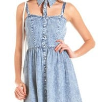 Cutout Collar Acid Wash Denim Dress: Charlotte Russe