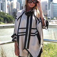 Oversized Cameo Inspired Cape with Faux Leather Panelling