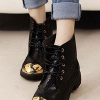 Ladies Lace Up Gold Cap Textured Biker Ankle Boots