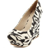 Round-Toe Tribal Fabric Wedge: Charlotte Russe