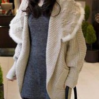 Cozy Hooded Batwing Sleeve Coat