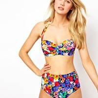 ASOS Floral High Waist Bikini Pant at asos.com