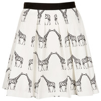 Kissing Giraffe Pleated Skirt - Topshop USA
