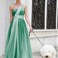 [190.76] In Stock One Shoulder Beaded Gradient Chiffon Prom Dress 80339 - Dressilyme.com