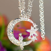 Free Shipping Necklace with Inlaid Diamond Crescent and Star Pendant