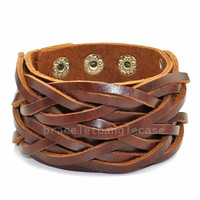 Brown leather woven cuff bracelet women cuff bracelet men wrist bracelet jewelry bracelet bangle friendship gifts   d-367
