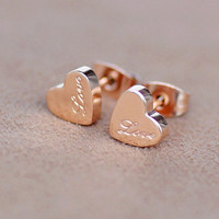 Love and Love Titanium Steel Earrings