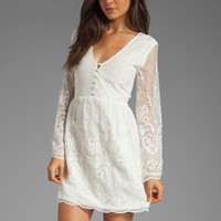 Dolce Vita Jilisa Silk Embroidery Long Sleeve Mini Dress in Snow from REVOLVEclothing.com