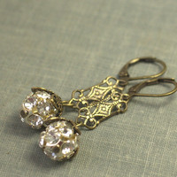 Vintage 1920s style earrings filigree brass rhinestone dangle