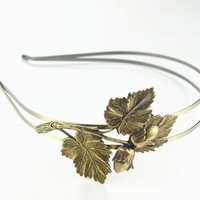 Autumn headband leaf acorn double band brass fall hair accessory