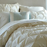 Organic Cotton Pintuck Duvet Cover + Shams - Natural