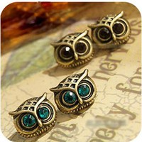 Vintage Owl Rhinestone Earrings