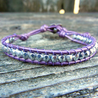 Beaded Leather Single Wrap Bracelet with Silver Polished Czech Glass Beads on Metallic Purple Leather