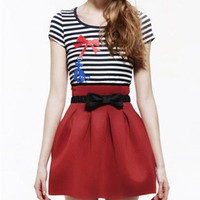 Red High Waist and Full Pleated Skirt