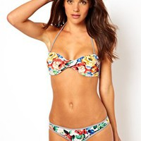 Warehouse Mix Print Twist Bandeau Bikini Top at asos.com