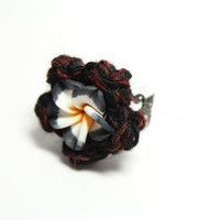 Black plumeria ring. Black and Brown Crochet flower ring.