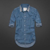 Hallie Shine Collar Denim Shirt