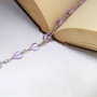 Lavender Heart Sterling Silver Wire Wrapped Necklace Lavender Glass Heart Wire Wrap Necklace