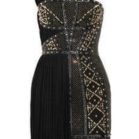 Versace | Leather-trimmed studded plissé and scuba-jersey dress | NET-A-PORTER.COM
