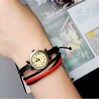Cool Vintage Bronze Alloy & Leather Bracelet Women Quartz Watch (Red & Black)
