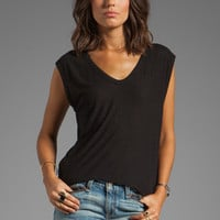 T by Alexander Wang Slub Classic Muscle Tee in Black