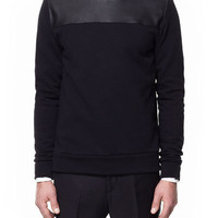 SWEATER WITH FAUX LEATHER YOKE - T-shirts - Man - ZARA United States