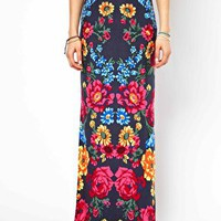 ASOS Maxi Skirt in Floral Print with Splits at asos.com
