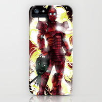 Flaming Iron Samurai Terminator  iPhone & iPod Case by eos vector