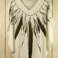 Feather Print Pea Oversize T-shirt - Retro, Indie and Unique Fashion