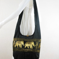 Black Hill Tribe Elephants Cross body  bag,Shoulder bag,Hippie,Cotton, Boho Hobo , Messenger Bag,Purse E-HG01