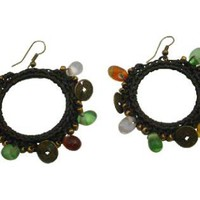 Knitted Earrings Round Shaped With Darkest Brown Thread