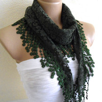 Necklace scarves, Traditional Turkish-style, Fashion scarf, Lace scarf, Olivie Green scarf, 2013 Trends