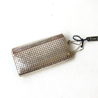 Vintage retro 1970s silver mesh key holder wallet
