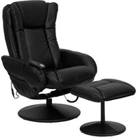 Walmart: Flash Furniture Deluxe Massaging Leather Recliner and Ottoman, Black