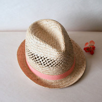 Cantaloupe FEDORA VINTAGE STRAW Women&#x27;s Hat // by ACESFINDSVINTAGE