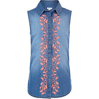 Girls light wash sleeveless denim shirt