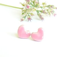 Pink Tiny Heart Post Earrings Ceramic Jewelry Pastel Stud Earrings