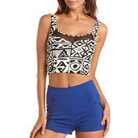 Mesh Inset Tribal Crop Top: Charlotte Russe