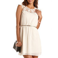 Belted Lace-Top Chiffon Dress: Charlotte Russe