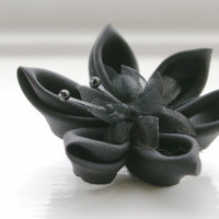 Black Hair Accessory Black Silk Kanzashi Flower by cuttlefishlove