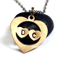 Personalized Initial Necklace - Custom Heart Monogram / Initial Pendant